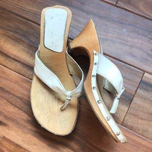 Wooden Sandals with Heel & White Strap